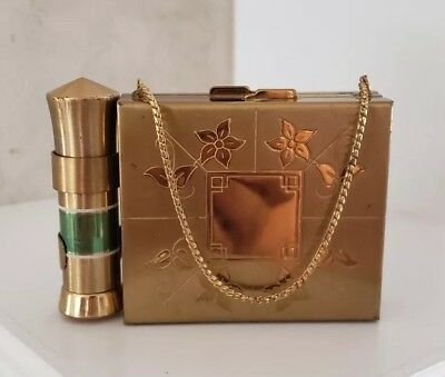 Vintage 1950's Carry All Double Sided Compact Goldtone Lipstick Holder w/Chain