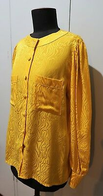 *Vintage 1980s Yellow Embossed Silk Women's Blouse- 52cm Bust
