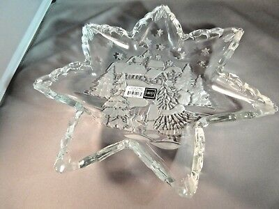 """Mikasa Holiday Classic Star Shaped 13"""" Platter - Clear & Frosted Glass! New !!"""