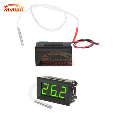 12V Green Digital LED Diaplay Thermometer K-type Thermocouple Probe Sensor