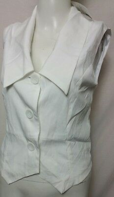 3402714f5 ATMOSPHERE WOMEN'S WHITE Sleeveless Woven Button Down Blouse Size 10 ...