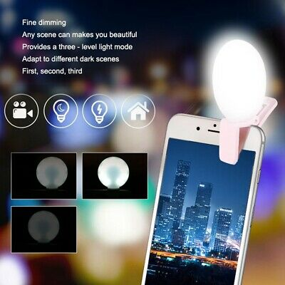 Selfie LED Ring Flash Fill Light Clip Mini Portable  Wide Universal With Mirror
