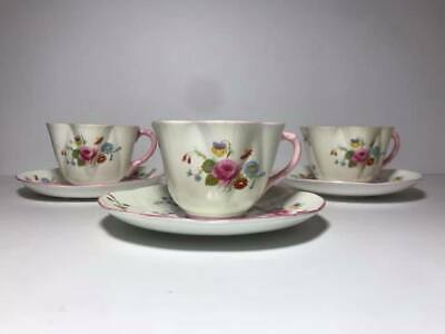 Set of 3 Shelley Rose Red Daisy Bone China Cup and Saucers