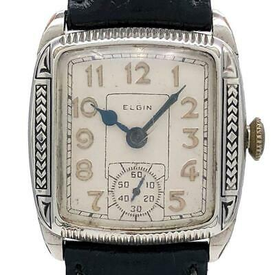 ELGIN Art Deco Antique Watch Small second hand-winding Off-white K14 leather