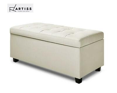 Storage Ottoman Large PU Leather Chest Blanket Toy Box Bed Seat Cream WH