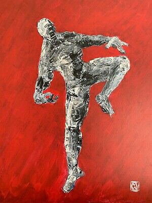 Abstract Realism Black White Red Dancing Man Modern Contemporary Painting Art