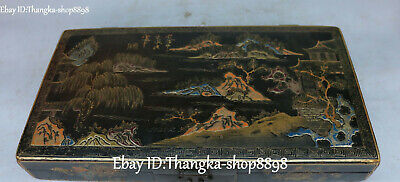 Old Chinese Wood Lacquerware Mountain Hill Water Tree Scenery Jewelry Box Casket