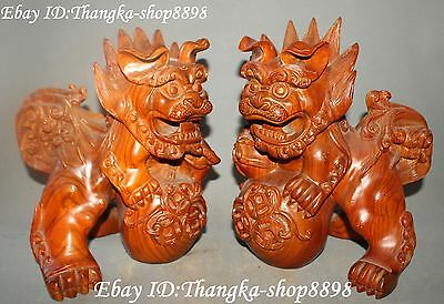 """11"""" Rosewood Wood Carving Foo Fu Dogs Lion Lions Animal Hold Ball Statue Pair"""