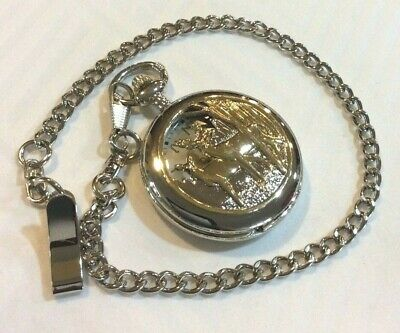 Two Tone Pocket Watch Deer in the Woods Cover Round Silver Dial Easy to Read New