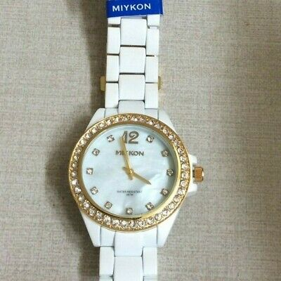 21f56bde1 MIYKON WOMEN'S WATCH Crystal Square White Dial on White Leather Band ...