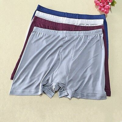 Men Pure Silk Knitted Underwear Boxer Trunks Brief Underpants Shorts Breathable