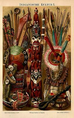 Native Americans Americana Art Weapons Artifacts Antique Lithograph Print 1885