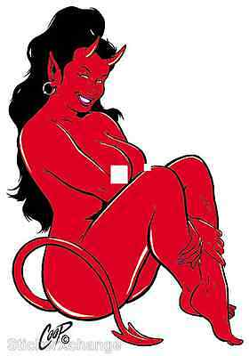 MINI SIZE Coop STICKER Decal Devil Girl CP4BR Right Facing