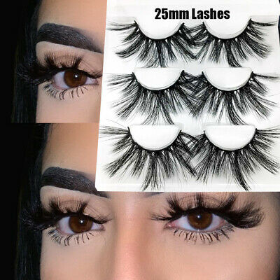 SKONHED 3 Pairs 25mm 6D Mink Hair False Eyelashes Thick Long Fluffy Wispies