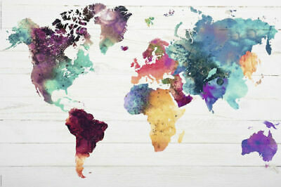 MAP OF THE WORLD - WATERCOLOR Art Silk Poster 12x18 24x36