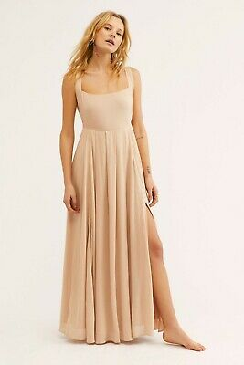 3bc6d3daf95 192279 New Free People Yes Please Maxi Dress Endless Summer Tie Back Large L