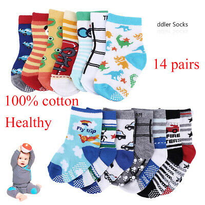 14 Pairs Baby Boy Girl Anti Slip Half Terry Socks Toddler For Kid 1-3 Years Old