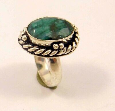 Dyed Emerald .925 Silver Plated Handmade Ring Size-6.75 Jewelry JC6290