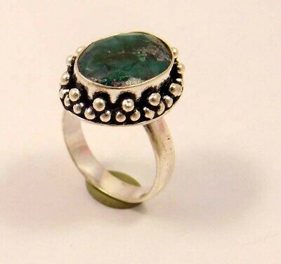 Dyed Emerald .925 Silver Plated Handmade Ring Size-7.75 Jewelry JC6311