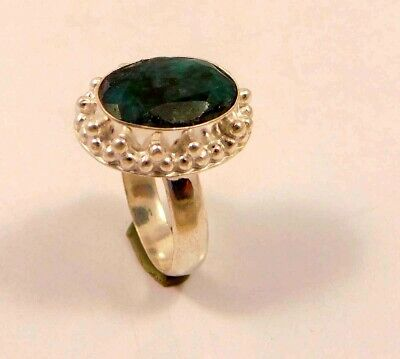 Dyed Emerald .925 Silver Plated Handmade Ring Size-8 Jewelry JC6374