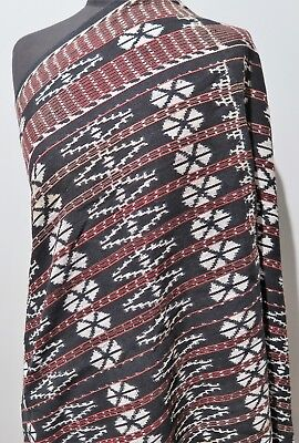 *79 X 164cm Hand Woven Indonesian Red, White & Black Cotton Shoulder Cloth