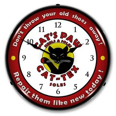 """CAT-TEX SOLES CAT/'S PAW HEELS SHOES THERMOMETER 12"""" ROUND GLASS DOME SIGN"""