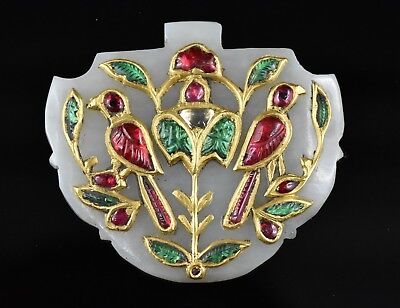 RARE MUGHAL  JADE PENDANT STUDDED WITH DIAMOND EMERALD RUBY 24 Kt REAL GOLD