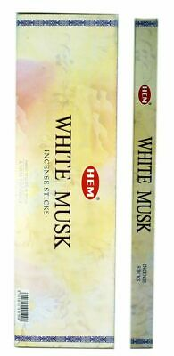 40 Incense Sticks - WHITE MUSK - HEM BRAND - 5 Sq Boxes x 8g- Fresh Stock