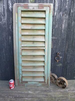 VINTAGE WOODEN SHUTTER WINDOW 113x51CM  ANTIQUE FRENCH  RECLAIMED   FREE post