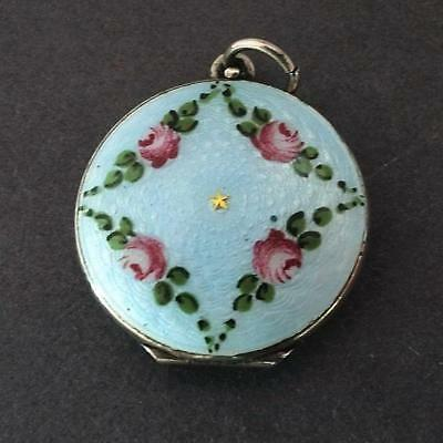 Art Deco Antique Silver Guilloche Enamel Photo Locket Circa 1930
