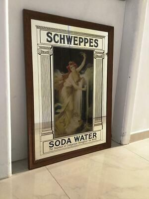 Great Large Framed Schweppes Soda Water Wall Hanging Advertisement  Bar  Mirror
