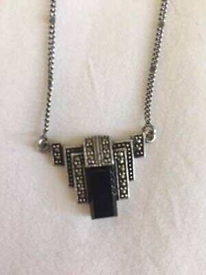Art Deco Sterling Silver Onyx Marcasite Geometrical Necklace