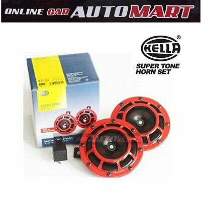 100% Genuine HELLA Supertone Dual Horn Set w Relay for UTE 4x4`
