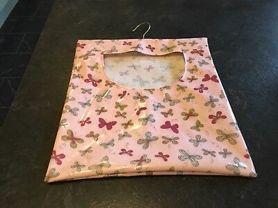 Hand Made Laundry Peg Bag With Wooden Hanger Oil Cloth Pink with Butterflies