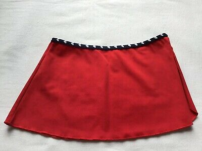Girls Age 4-5 Years Swim Sarong Red With Black/White Heart Trim Design