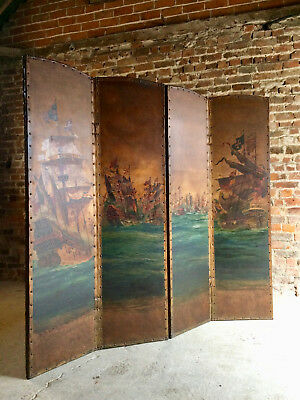 Stunning Antique Leather Four Fold Screen Hand Painted Naval Interest Galleons