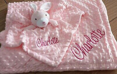 Personalised Embroidered Baby Blanket Comforter Gift Set Baby Girl
