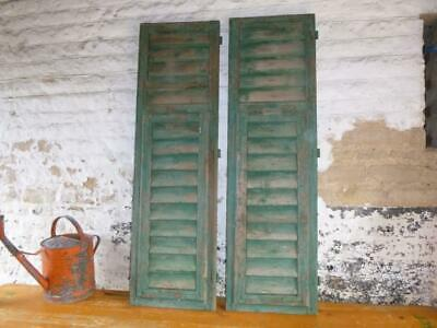VINTAGE WOODEN SHUTTERS WINDOW 138 Cm tall FRENCH  RECLAIMED FREE post