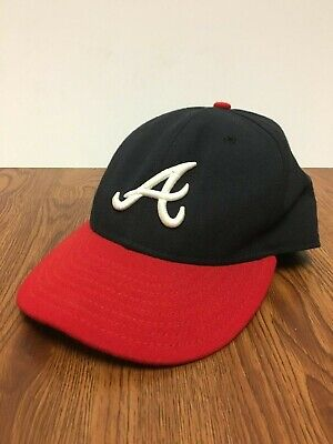 finest selection 2f553 40983 New Era 59Fifty MLB Cap Atlanta Braves On Field Fitted Home Hat - Navy Red