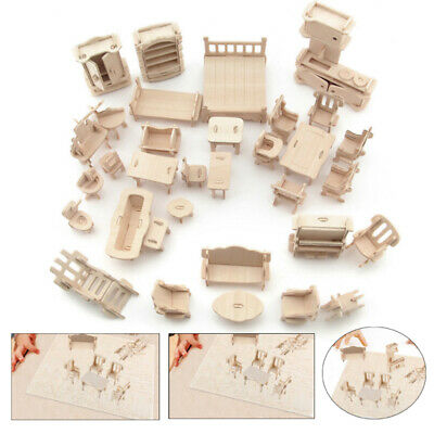 34Pcs Vintage Wooden Furniture Doll House Mini Toys Children's Gifts New Puzzle