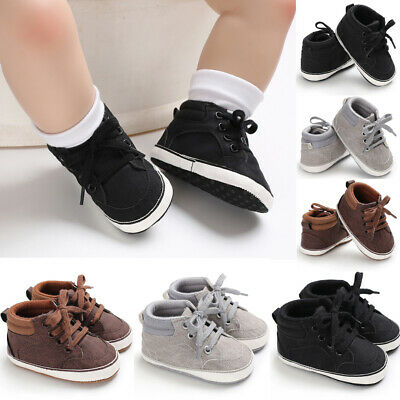 Cute Newborn Baby Boys Girl Toddler Cotton Lace-Up Shoes Soft Sole Crib Sneakers