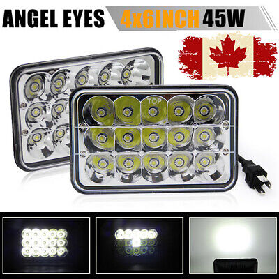 """Pair 4x6"""" 45W CREE LED Headlights Sealed Beam Xenon HID Halogen Bulb Replacement"""