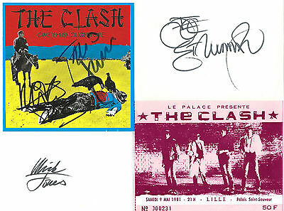autographes THE CLASH (M. JONES, J. STRUMMER, P. SIMONON) + ticket de concert