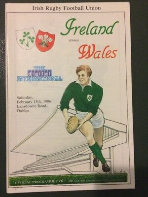 Ireland v Wales Rugby Programme 1986