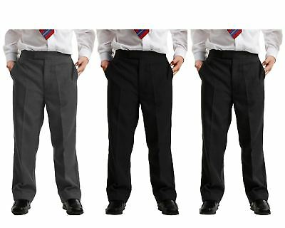 New Boys Half Elasticated  Sturdy Fit School Trousers in Black Charcoal Grey