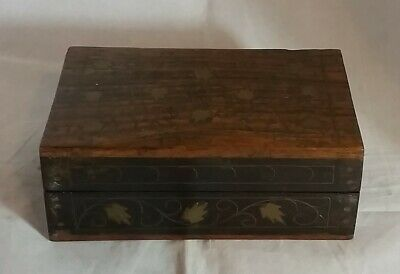 Beautiful Vintage Wooden Storage Box with Brass inlaid work