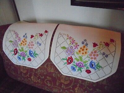 A Pair Of Vintage/Antique Hand Embroidered Chair Backs - Floral Design.