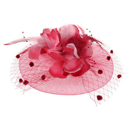 Prettyia 1x,Fascinator Hat Feather Party Pillbox Hat Flower Hat for Women