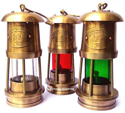 LOT OF 3 PCS Nautical Miner Oil Ship Lantern Maritime Vintage Ship Lamp Decor