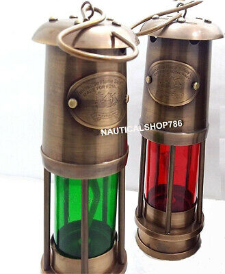 LOT OF 2 PCS Nautical Miner Oil Ship Lantern Maritime Vintage Ship Lamp Decor
